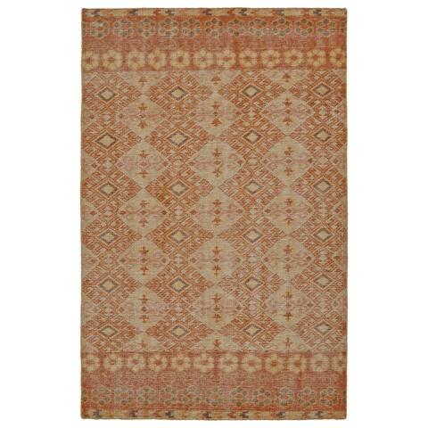 Hand-Knotted Vintage Orange Kilim Rug (2'0 x 3'0) - 2' x 3'