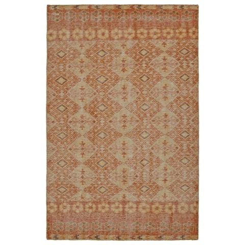 Hand-Knotted Vintage Orange Kilim Rug (4'0 x 6'0) - 4' x 6'