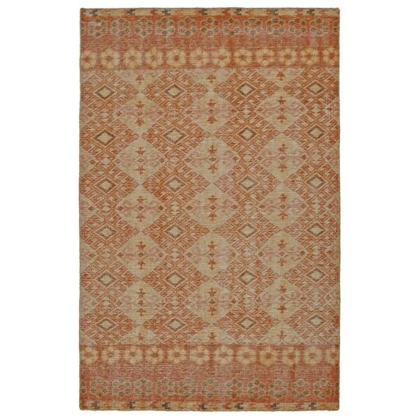Hand-Knotted Vintage Orange Kilim Rug (4' x 6')
