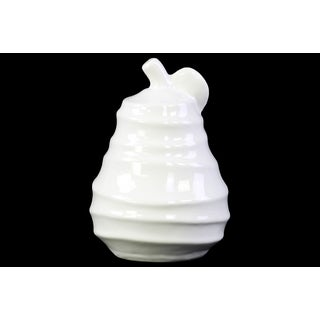 Ceramic Pear Figurine with Spiral Ripple Design Gloss White