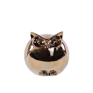 Ceramic Spherical Owl Figurine SM Polished Chrome Gold
