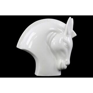 Ceramic Nodding Horse Head Gloss White