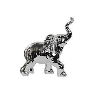 Porcelain Walking Trumpeting Elephant Figurine Polished Chrome Silver