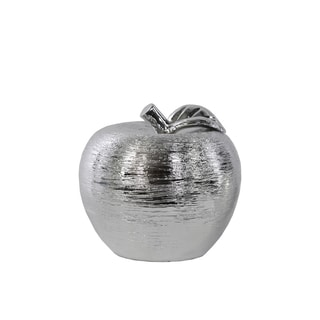 Porcelain Apple Figurine SM Combed Chrome Silver