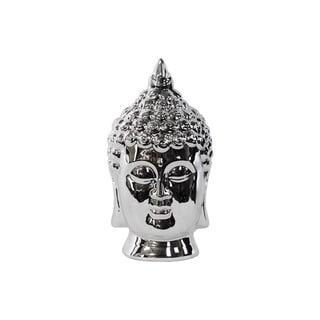 Porcelain Buddha Head with Pointed Ushnisha Polished Chrome Silver