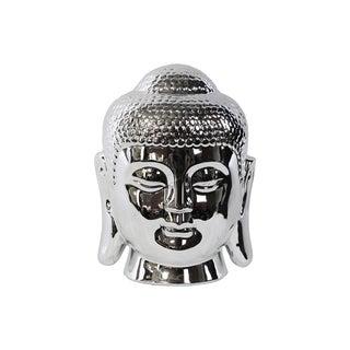 Porcelain Buddha Head with Rounded Ushnisha Polished Chrome Silver