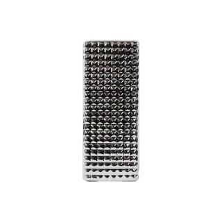 UTC14838: Porcelain Narrow Rectangular Vase LG Studded Polished Chrome Finish Silver