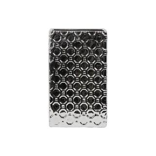 Porcelain Broad Rectangular Vase LG Patterned Polished Chrome Silver