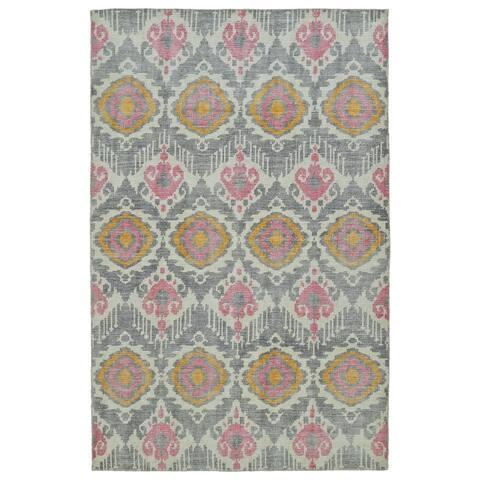 Hand-Knotted Vintage Grey Boho Rug (4'0 x 6'0) - 4' x 6'
