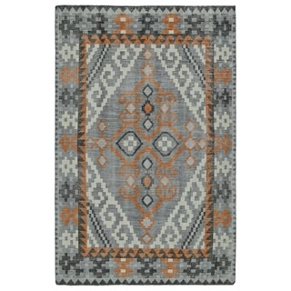Hand-Knotted Vintage Grey Medallion Kilim Rug (4'0 x 6'0) - 4' x 6'