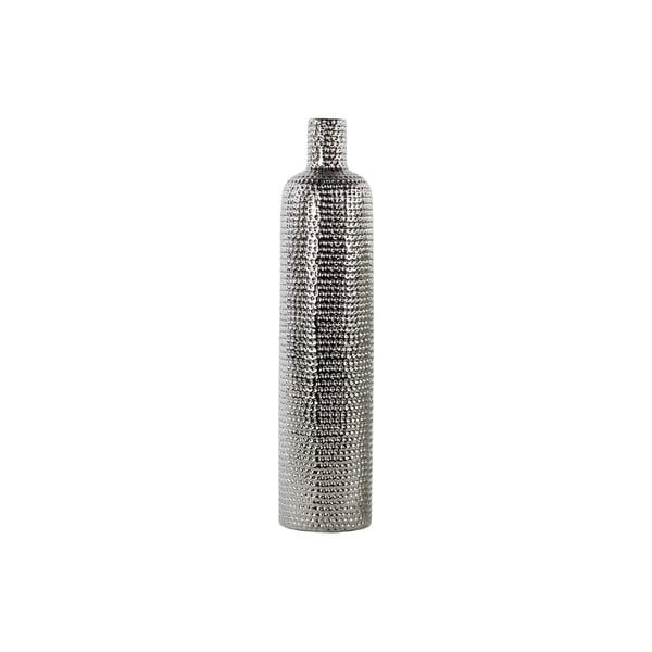 UTC21235: Ceramic Round Bottle Vase LG Dimpled Polished Chrome Finish Silver
