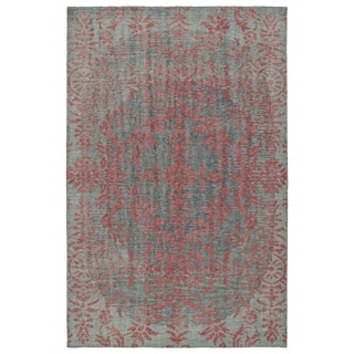 Hand-Knotted Vintage Pink Floral Rug (5'6 x 8'6)