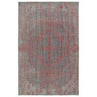 "Hand-Knotted Vintage Pink Floral Rug - 5'6"" x 8'6"""