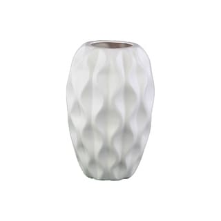 Urban Trends Embossed Wave Design Ceramic Matte White Vase