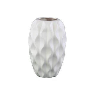 UTC21401: Ceramic Round Vase with Tapered Bottom and Embossed Wave Design Matte Finish White