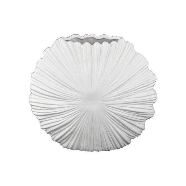 Ceramic Matte White Vase with Embossed Sunburst Design