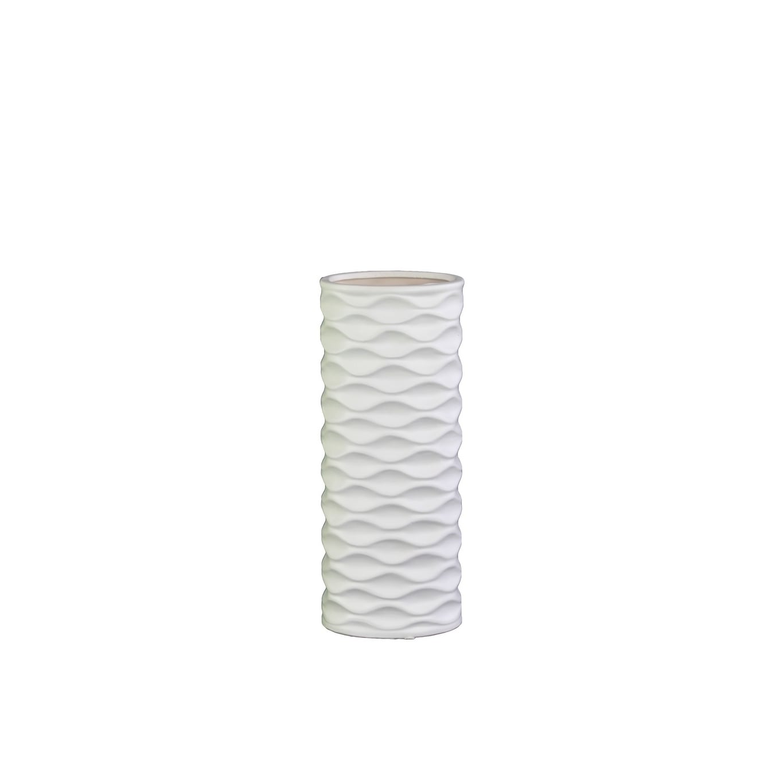 UTC21408: Ceramic Round Cylindrical Vase with Embossed Wave Design SM Matte Finish White (White; 4.75x3.5x12.0H)