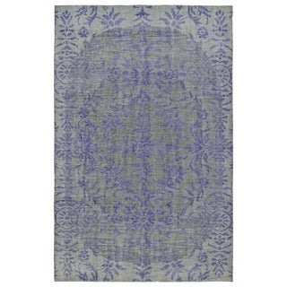 Hand-Knotted Vintage Purple Floral Rug (4'0 x 6'0)