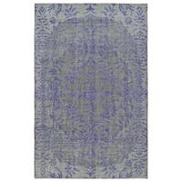 Hand-Knotted Vintage Purple Floral Rug (4'0 x 6'0) - 4' x 6'
