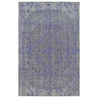 Hand-Knotted Vintage Purple Floral Rug (2' x 3')