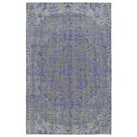 Hand-Knotted Vintage Purple Floral Rug (8' x 10')