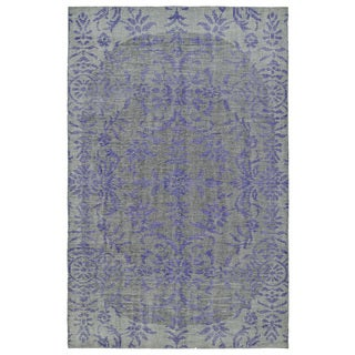 Hand-Knotted Vintage Purple Floral Rug (9'0 x 12'0)