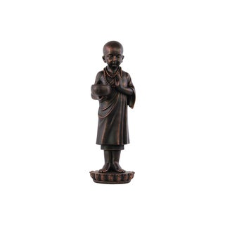 Rusted Bronze Brown Fiberstone Standing Monk in Karana Mudra on Base Statue