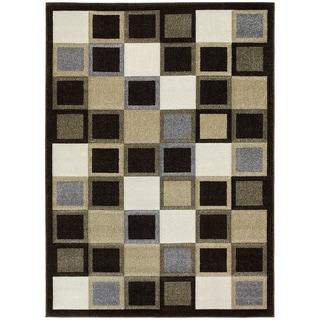 LYKE Home Contemporary Geometric Chocolate Area Rug (5' x 7') - 5'3 x 7'2
