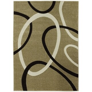 LYKE Home Contemporary Champagne Area Rug (8' x 11')