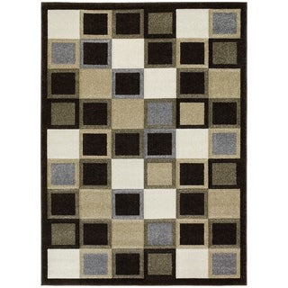 LYKE Home Contemporary Geometric Chocolate Area Rug (8' x 11')