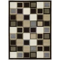 LYKE Home Contemporary Geometric Chocolate Area Rug - 7'10 x 10'6