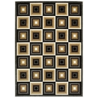LYKE Home Hand-carved Charcoal Squares Area Rug (5' x 7')