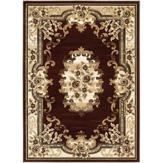 LYKE Home Hand-carved Burgundy Traditional Area Rug (5' x 7')