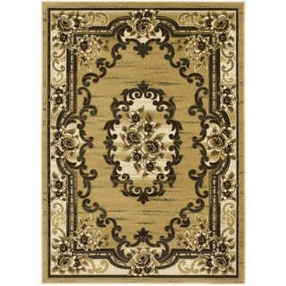 LYKE Home Hand-carved Champagne Traditional Area Rug (5' x 7')