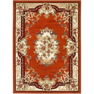 LYKE Home Hand-carved Rust Traditional Area Rug (5' x 7')