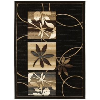 LYKE Home Hand-carved Black Floral Area Rug (5' x 7')