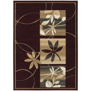 LYKE Home Hand-carved Burgundy Floral Area Rug (5' x 7')