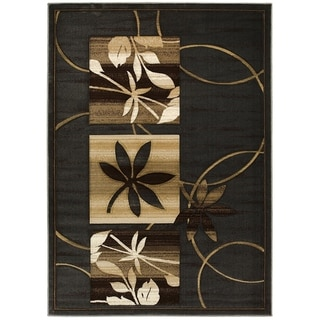LYKE Home Hand-carved Charcoal Floral Area Rug (5' x 7')