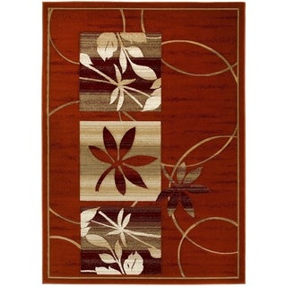 LYKE Home Hand-carved Rust Floral Area Rug (5' x 7')