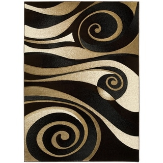 LYKE Home Hand-carved Black Swirls Area Rug (5' x 7')