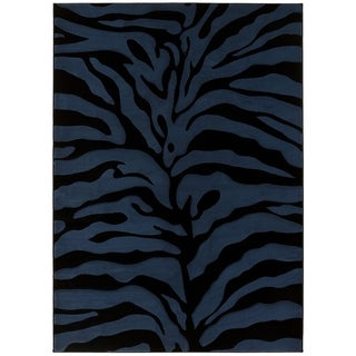 LYKE Home Hand-carved Blue Animal Print Area Rug (5' x 7')