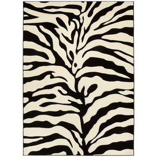 LYKE Home Hand-carved White Animal Print Area Rug (5' x 7')