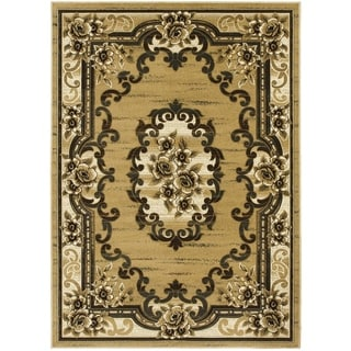 LYKE Home Hand-carved Champagne Traditional Area Rug (8' x 11')
