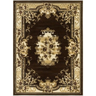 LYKE Home Hand-carved Chocolate Traditional Area Rug (8' x 11')