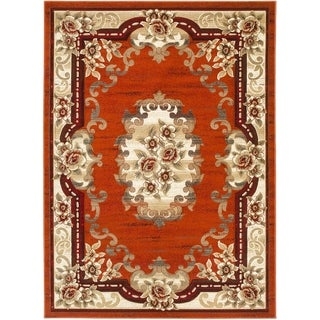 LYKE Home Hand-carved Rust Traditional Area Rug (8' x 11')