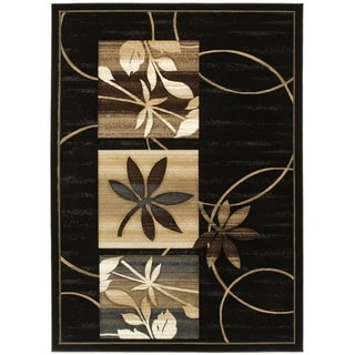 LYKE Home Hand-carved Black Floral Area Rug (8' x 11')