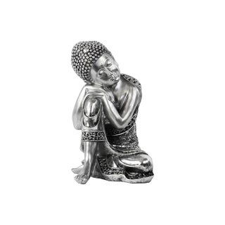 Urban Trends Sleeping Buddha Brushed Silver Resin Figurine
