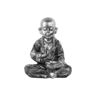 Urban Trends Meditating Monk Brushed Silver Resin Figurine in Abhaya Mudra