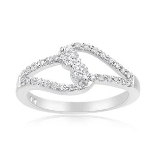 Summer Rose 14k White Gold 1/2ct TDW Diamond Forever 2-stone Ring