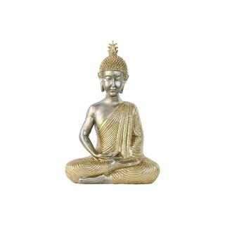 Urban Trends Meditating Buddha in Dyhana Mudra with Layered Ushnisha in Glittering Gold Resin Figurine